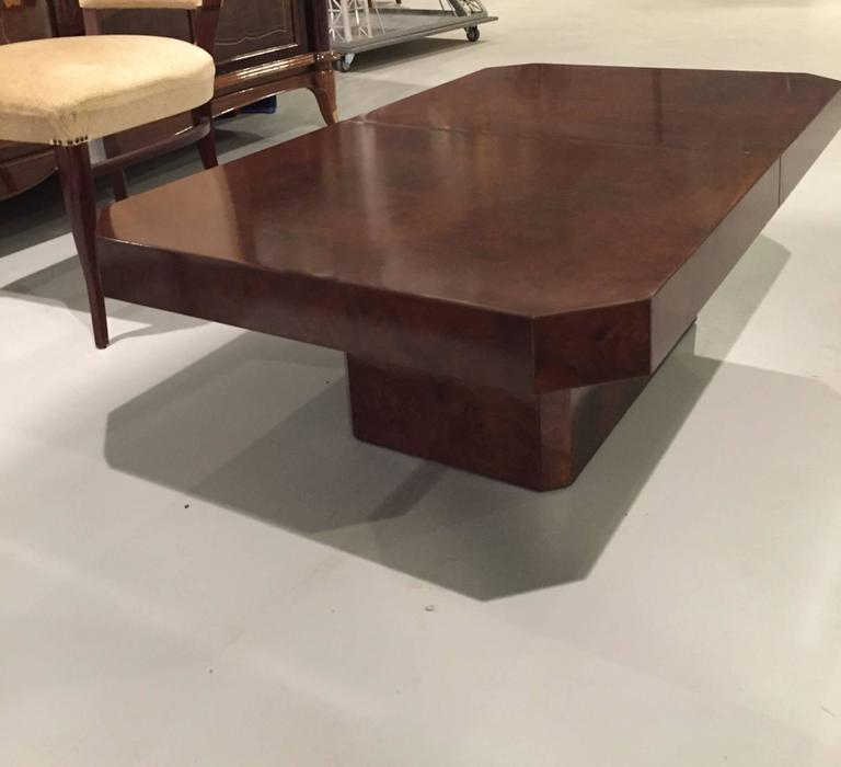 French Mid-Century Burl Coffee Table Or Dry Bar For Sale