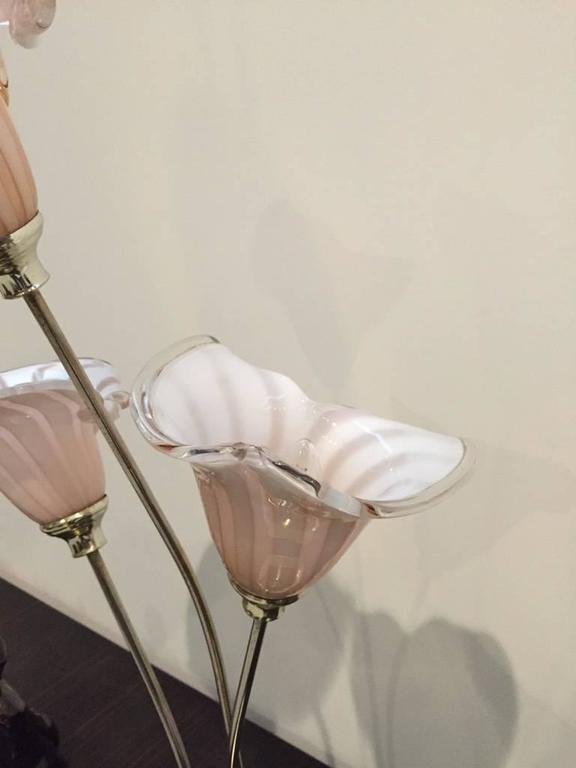 Italian Murano Handblown Calla Lilies Mid-Century Table Lamp For Sale 1