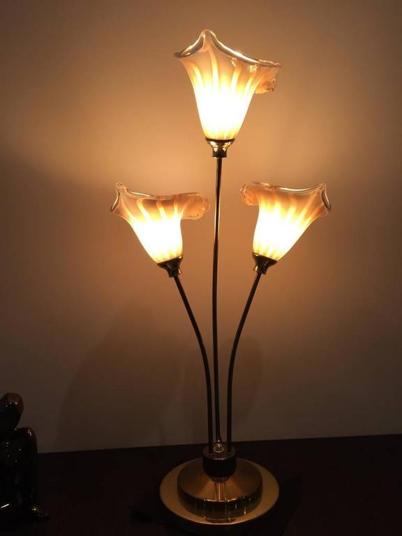 Italian Murano Handblown Calla Lilies Mid-Century Table Lamp For Sale 3