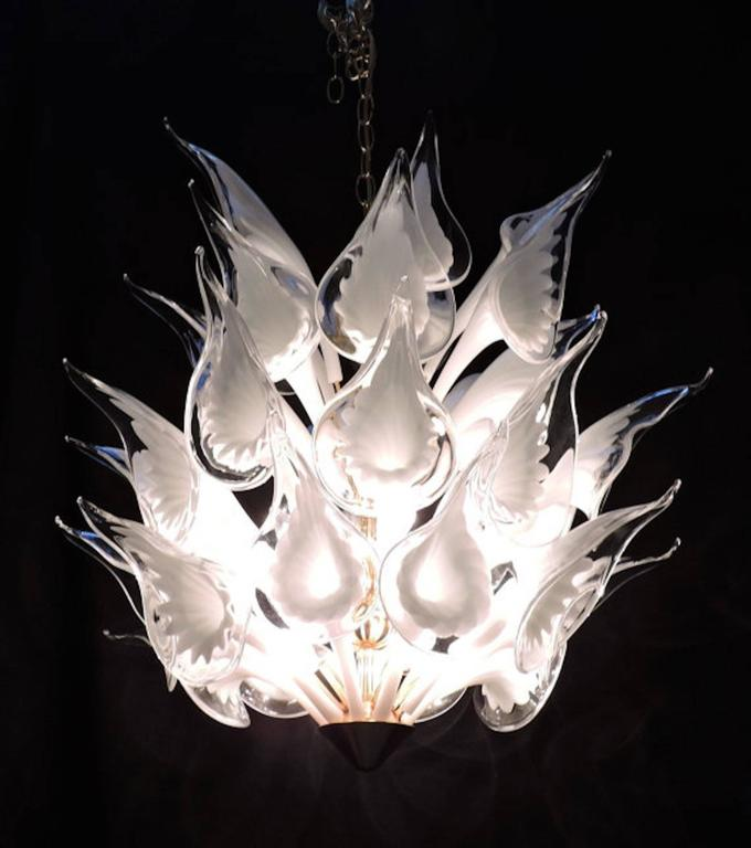 Mid-Century Italian Modern Camer Calla Lily Handblown Murano Glass Chandelier For Sale 1