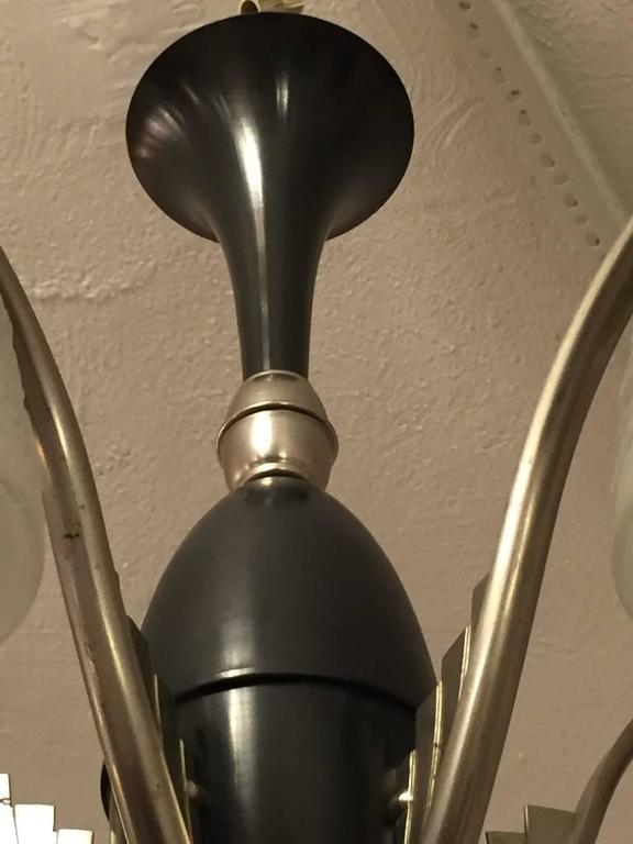 Mid-20th Century French Art Deco Chandelier Signed by Muller Freres For Sale