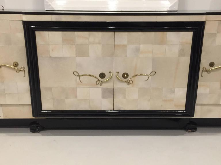 French Art Deco Parchment Buffet with Ebony Marble Top and