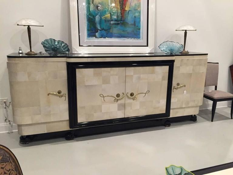 French Art Deco spectacular parchment buffet with ebony marble top and