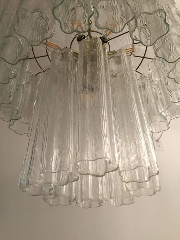 Mid-Century Modern Mid-Century Italian Tronchi Glass Chandelier  For Sale