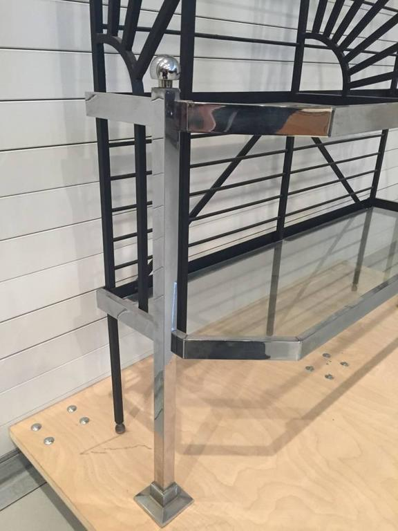 20th Century French Chrome and Glass Bakers Rack For Sale