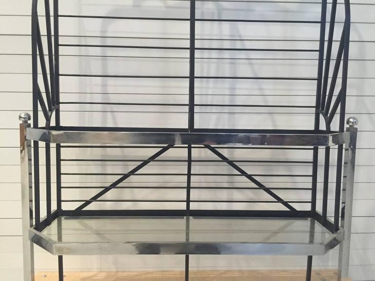 French Chrome and Glass Bakers Rack For Sale 1