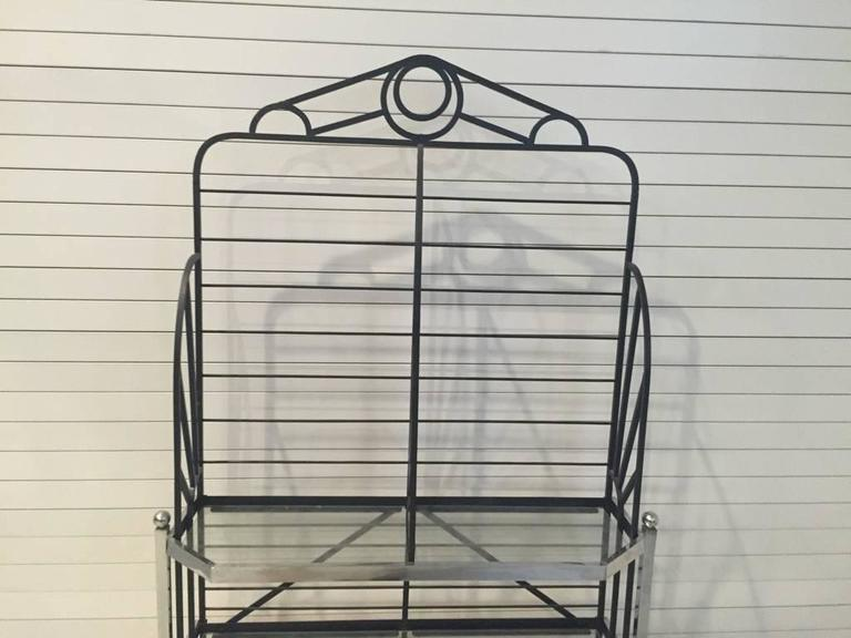 French Chrome and Glass Bakers Rack In Excellent Condition For Sale In North Bergen, NJ