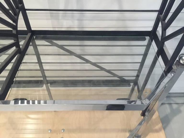 French Chrome and Glass Bakers Rack For Sale 4