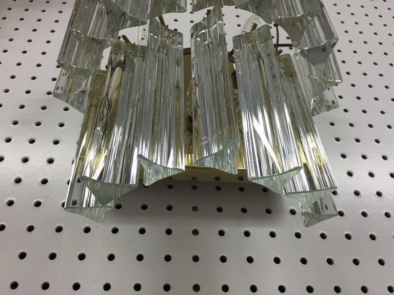 Mid-20th Century Pair of Italian Mid-Century Two-Tier Venini Murano Glass Sconces For Sale