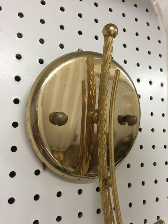 Mid-Century Modern Pair of Italian Murano Calla Lily Mid-Century Brass Sconces For Sale