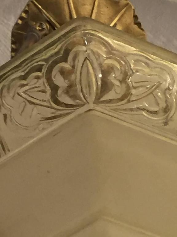 French Art Deco Glass and Brass Chandelier 5