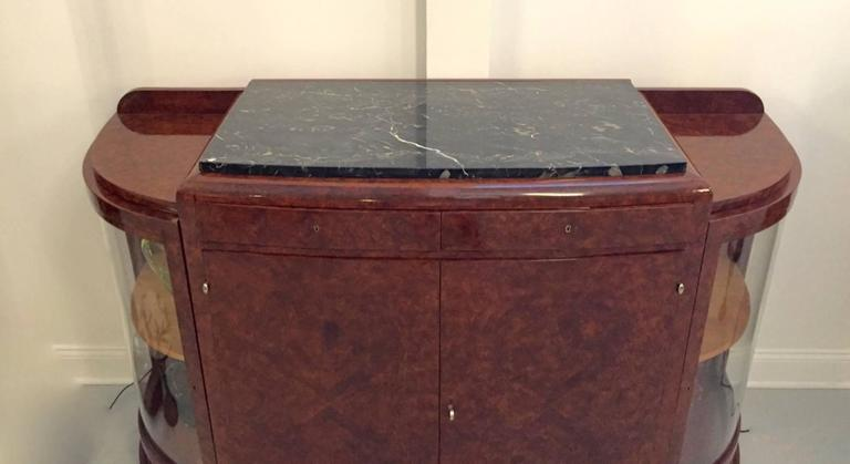 French Art Deco Buffet with Portoro Marble Top In Excellent Condition For Sale In North Bergen, NJ