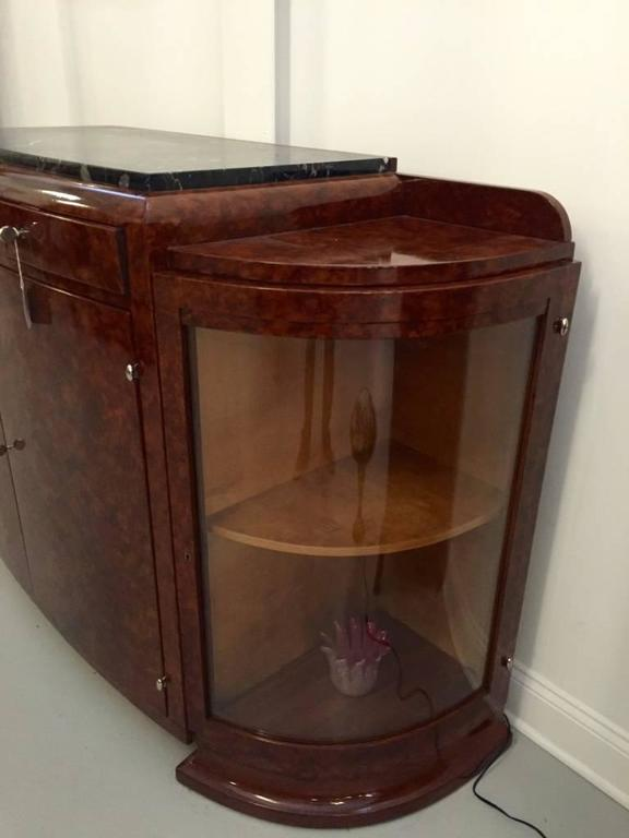 French Art Deco Buffet with Portoro Marble Top For Sale 3