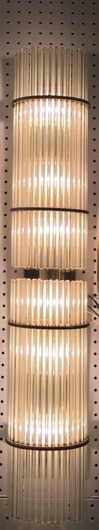 Pair of Italian Mid-Century Sconces with Glass Rods For Sale 3