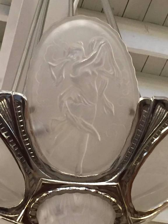French Art Deco Chandelier by Muller Frères In Excellent Condition For Sale In North Bergen, NJ
