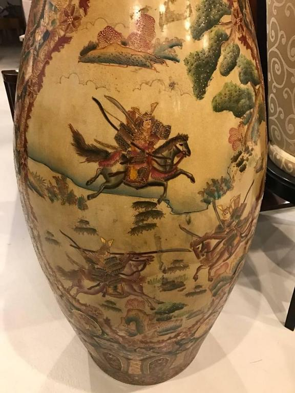 Japanese Palace Floor Vase With Samurai Warriors Motif For Sale At 1stdibs