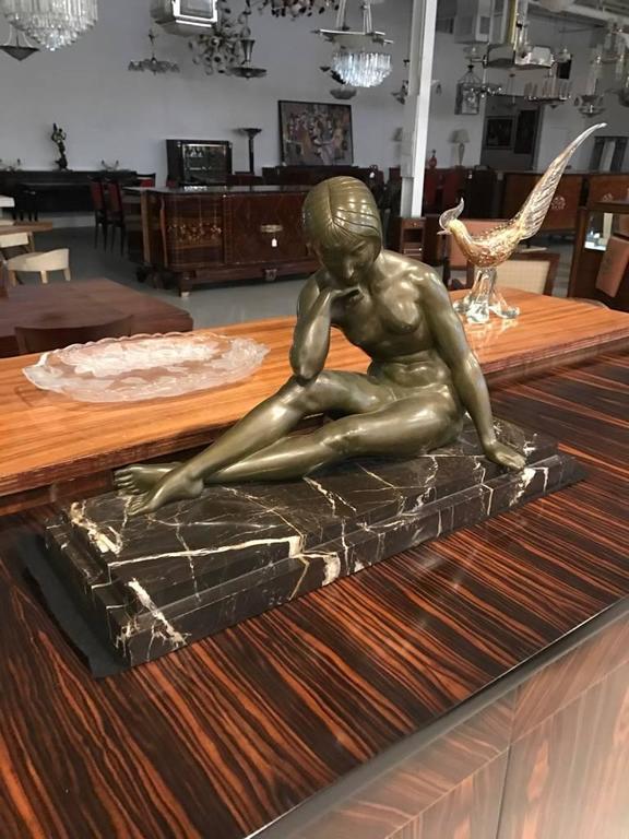SIGNED BRONZE STATUE, ART NOUVEAU ART DECO GIRL SCULPTURE