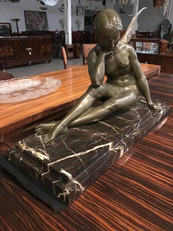 Erotic Nude Lady Bronze Sculpture Figurine Figure Signed