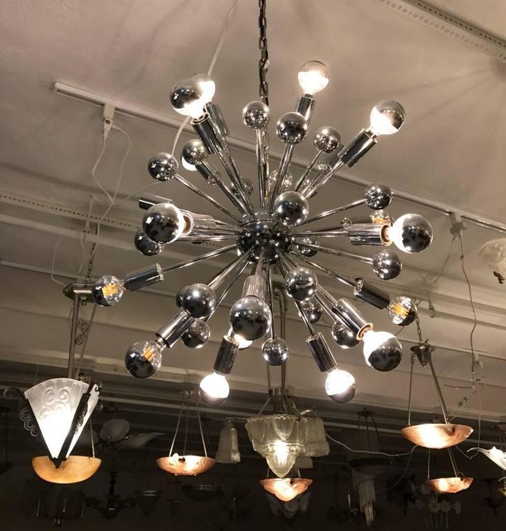 Late 20th Century Mid-Century Chrome Sputnik Chandelier For Sale
