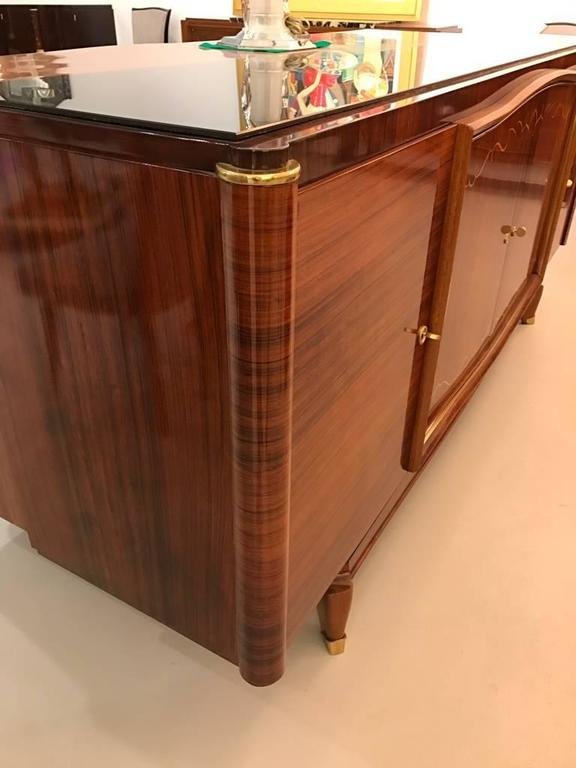 French Art Deco Palisander Buffet with Black Glass Top For Sale 1