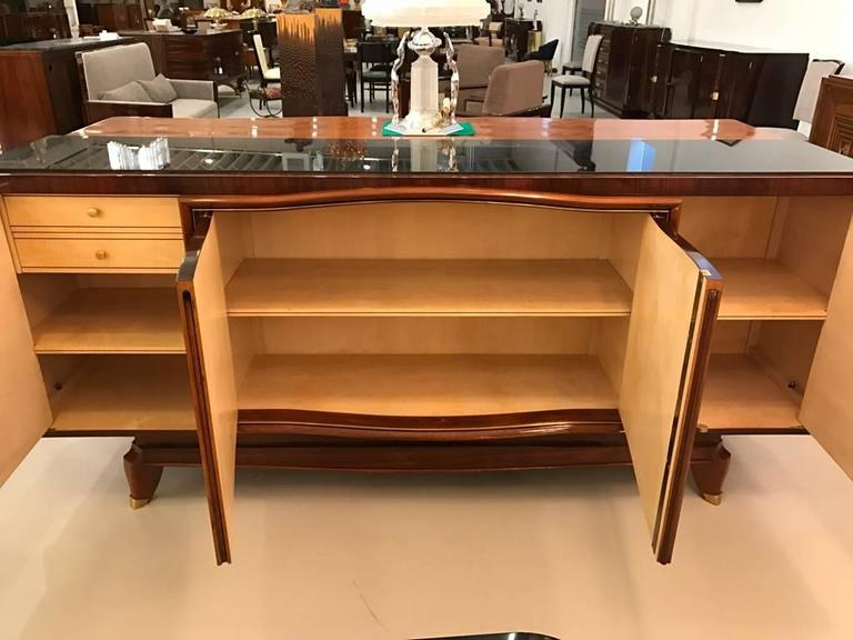 French Art Deco Palisander Buffet with Black Glass Top For Sale 4