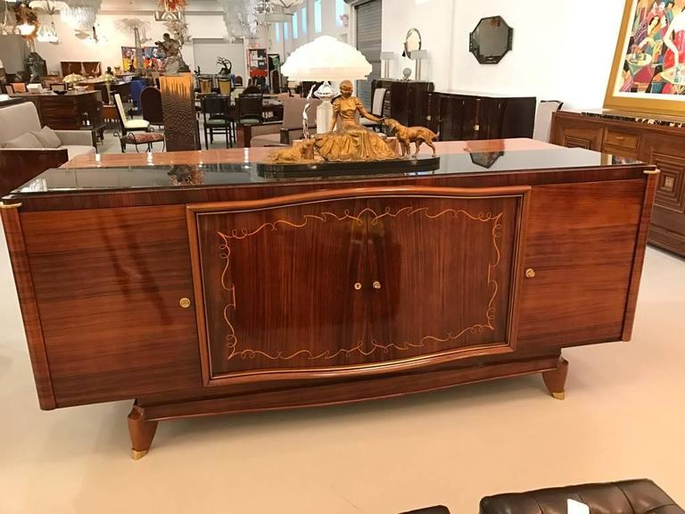French Art Deco Palisander Buffet with Black Glass Top For Sale 5