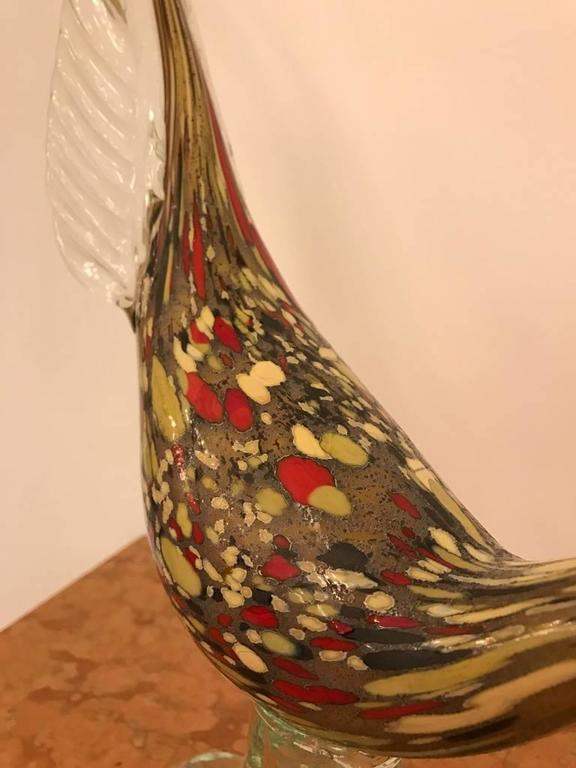 Pair of Italian Murano Hand Blown Glass Roosters For Sale 2