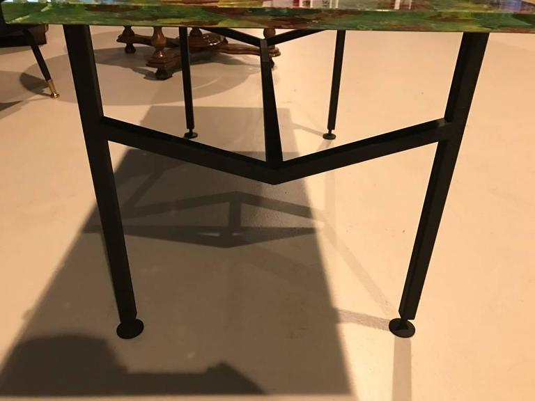 Italian Mid Century Modern Coffee Table With Multicolored Glass Top For Sale At 1stdibs