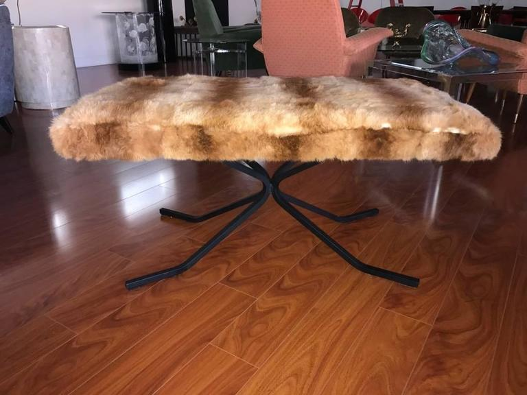 Mid-Century Modern Mid-Century Bench Upholstered in Fur For Sale