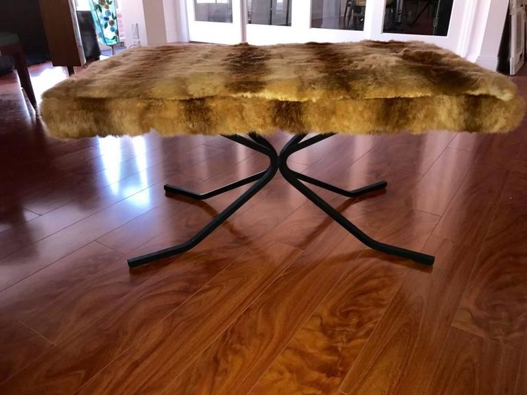 Mid-Century Bench Upholstered in Fur In Excellent Condition For Sale In North Bergen, NJ