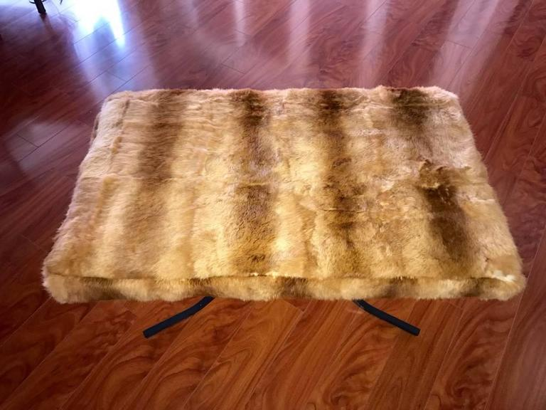 Late 20th Century Mid-Century Bench Upholstered in Fur For Sale