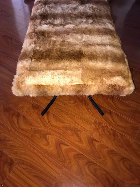 Mid-Century Bench Upholstered in Fur For Sale 1