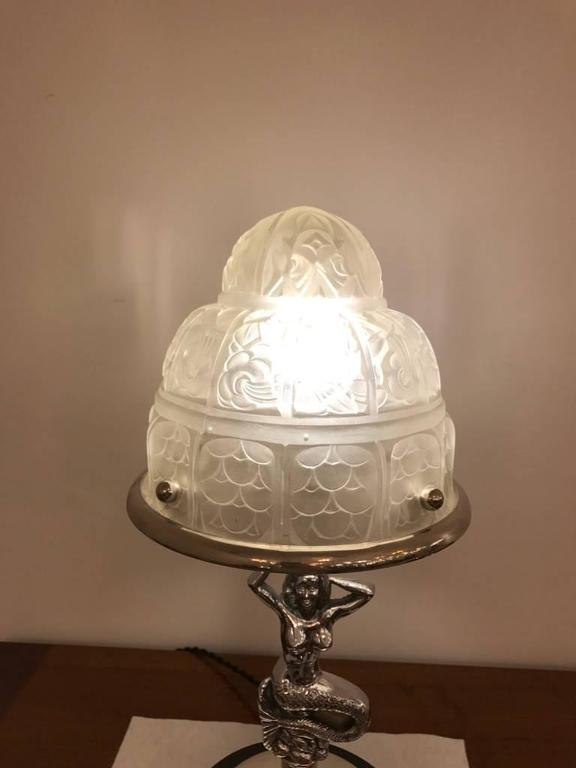 French Art Deco Mermaid Table Lamp By Genet Et Michon For Sale At 1stdibs
