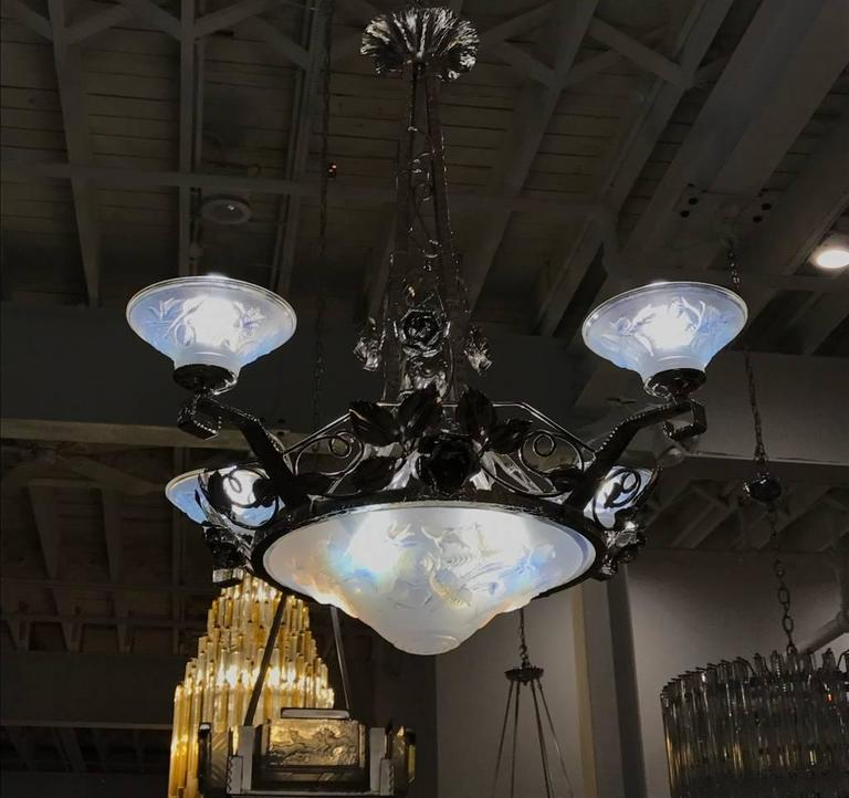 French Art Deco Chandelier Signed by P. Maynadier 9