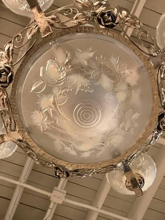 French Art Deco Chandelier Signed by P. Maynadier For Sale 2
