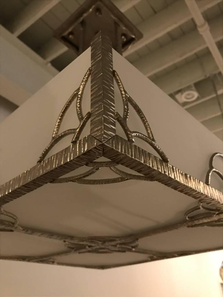 French Art Deco Industrial Nickeled Iron and Glass Chandelier For Sale 3