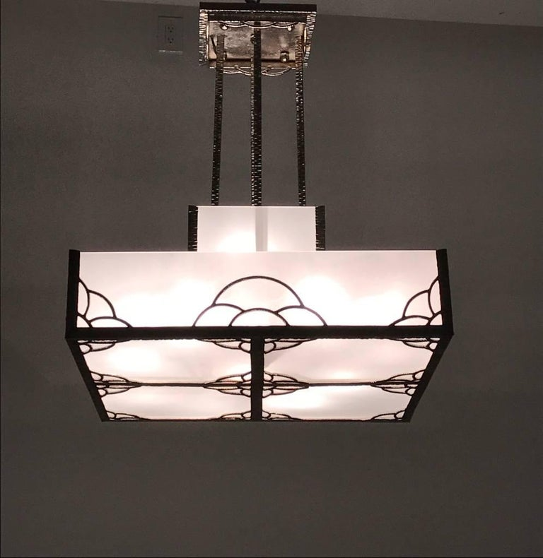 French Art Deco Industrial Nickeled Iron and Glass Chandelier For Sale 6