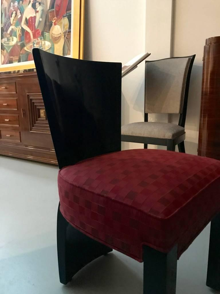 Early 20th Century Set of Six French Art Deco Dining Chairs For Sale