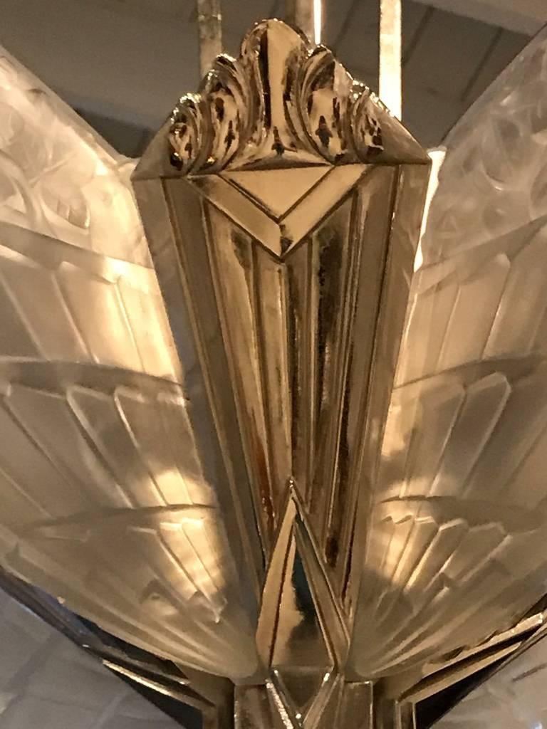 20th Century French Art Deco Chandelier by J Robert For Sale