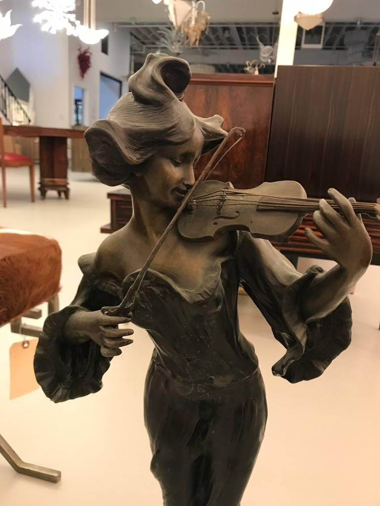 Art Nouveau Bronze Musicienne Par Flora Sculpture on Marble Base For Sale