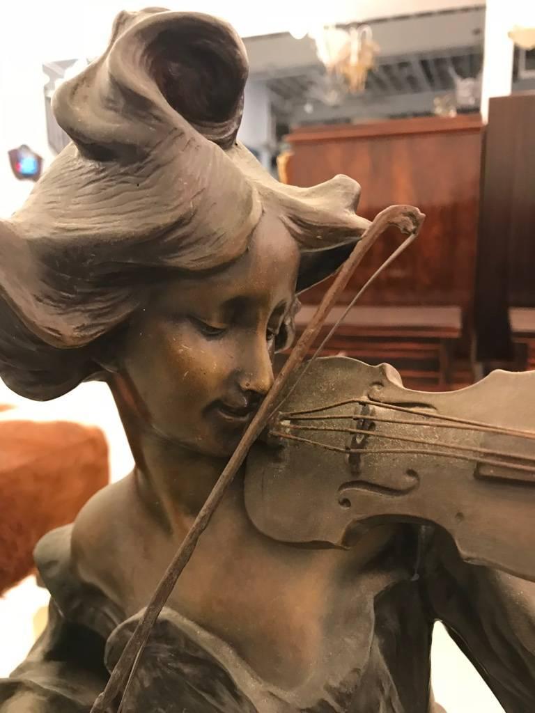 19th Century Bronze Musicienne Par Flora Sculpture on Marble Base For Sale