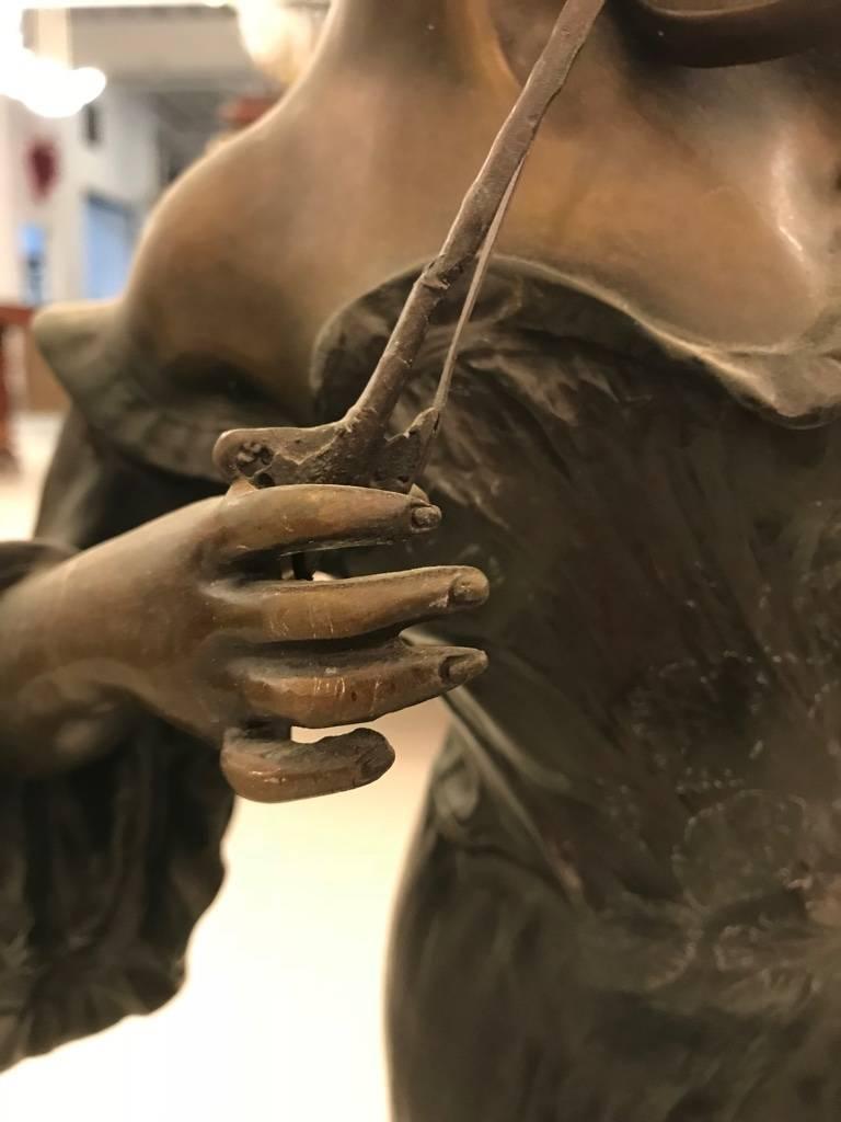 Bronze Musicienne Par Flora Sculpture on Marble Base For Sale 2