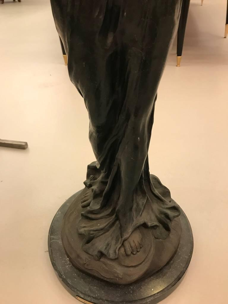 Bronze Musicienne Par Flora Sculpture on Marble Base For Sale 4