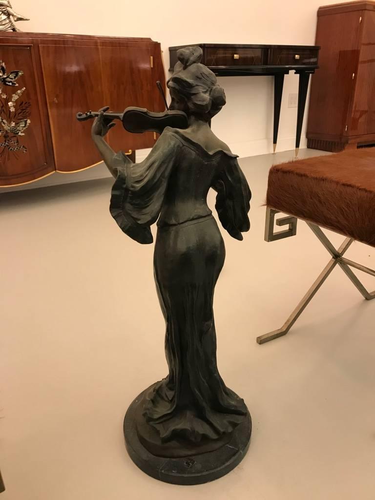 Bronze Musicienne Par Flora Sculpture on Marble Base For Sale 3