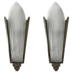 Pair of French Art Deco Sconces Signed by Genet et Michon