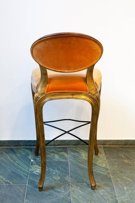 Louis Xv Orange Barstool In Velvet With Gold Plated Frame