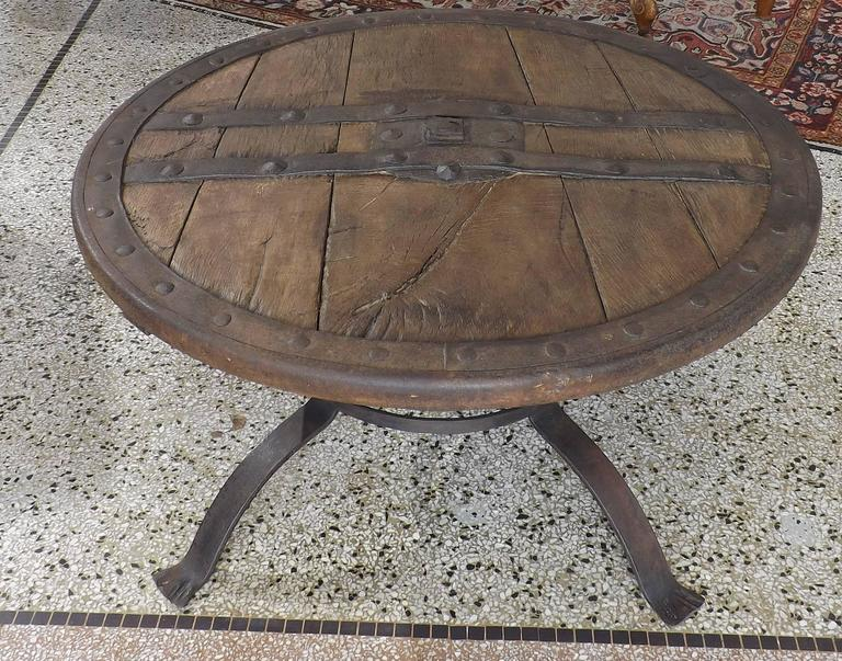 Medieval Forged Iron And Hardwood Wagon Or Chariot Wheel Coffee Table 2