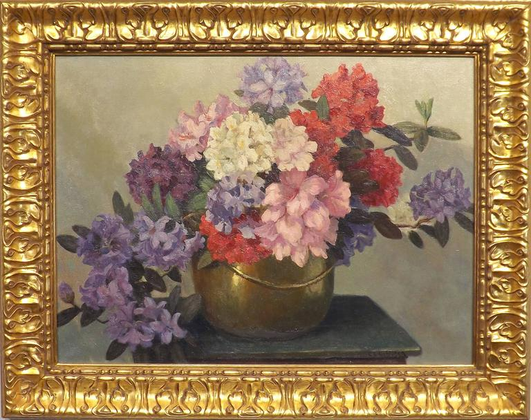 A wonderful floral painting of rhododendrons in a shiny copper kettle. Painted by Carl Schlüter (1886-1973), a graduate of the Royal Academy of Fine art in Amsterdam. He worked in Amsterdam, Dordrecht, Laren (NH) and in 1924 he established himself