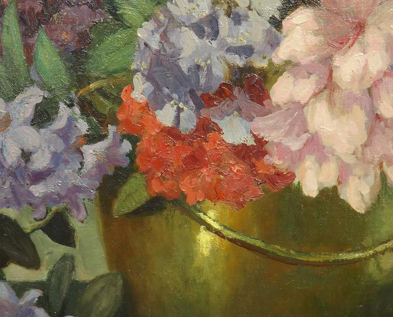 'Rhododendrons' Floral Painting by Dutch Artist Carl Schlüter In Excellent Condition For Sale In Charlevoix, MI