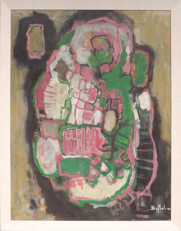 A colorful abstract by the Dutch painter Jacobus Bijtel. Born in the town of Schiedam in 1893, Bijtel was a graduate of the Academy of Arts in Rotterdam and of the Vrije University in The Hague. Listed in numerous art resources, including Pieter